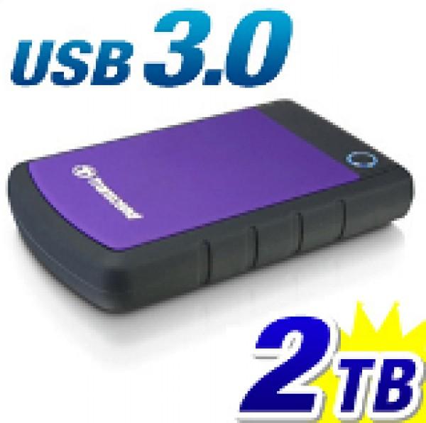 External HDD 2 TB, H3P, USB3.0, 2.5'', Anti-shock system, Backup software, 284 gr, Black/Purple ( TS2TSJ25H3P )