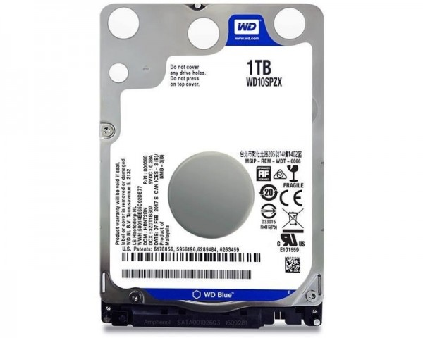 WD 1TB 2.5'' SATA III 128MB 5.400 WD10SPZX Blue
