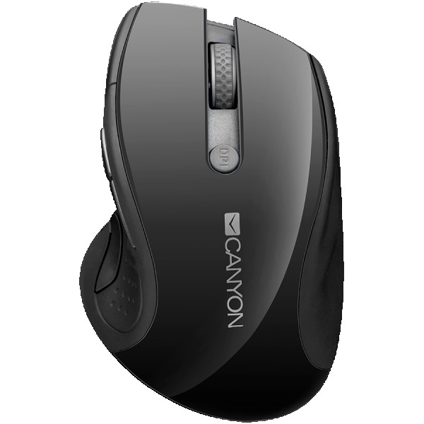 CANYON 2.4GHz wireless mouse with 6 buttons, optical tracking - blue LED, DPI 100012001600, Black pearl glossy, 113x71x39.5mm, 0.07kg ( CNS-CMSW01B )