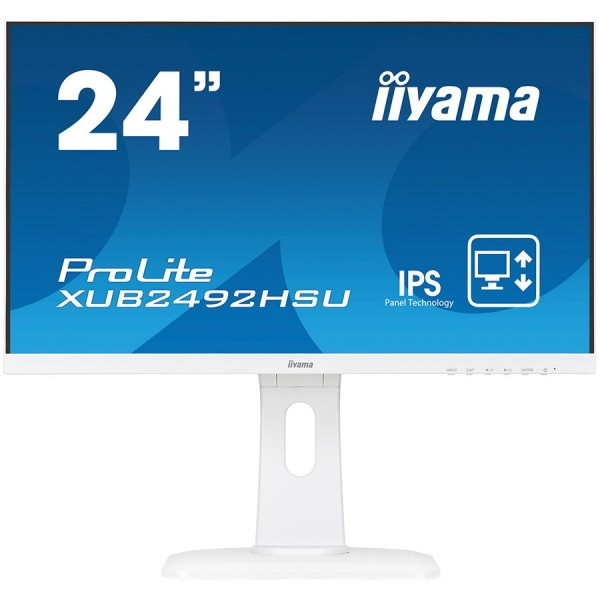 IIYAMA Monitor Prolite, 24'' WHITE, ETE ULTRA SLIM LINE , 1920x1080, ETE IPS-panel, 13cm Height Adj. Stand, Pivot, 250 cdm˛, Speakers, VGA, HDMI, DisplayPort, 4ms (23,8'' VIS) ( XUB2492HSU-W1 )