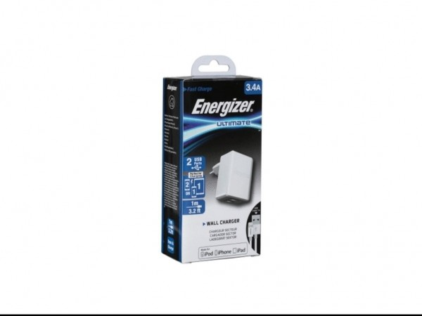 Energizer Ultimate Wall Charger 2USB+Lightning Cable White  3,4A' ( 'ACA2CEUULI3' )