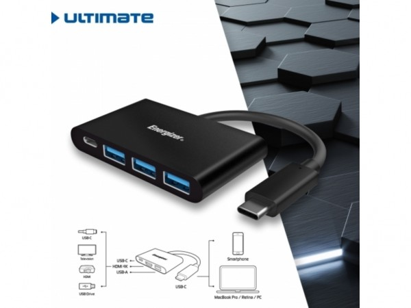 Energizer Ultimate Hub USB-C to 3 USB+USB-C Black' ( 'HC304AC' )