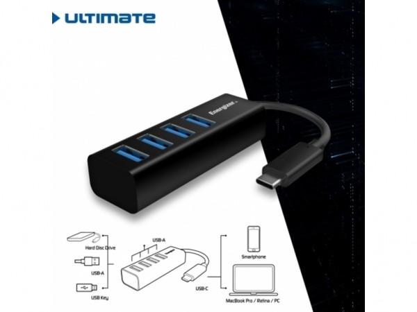 Energizer Ultimate Hub USB-C to 4 USB Black' ( 'HC304A' )