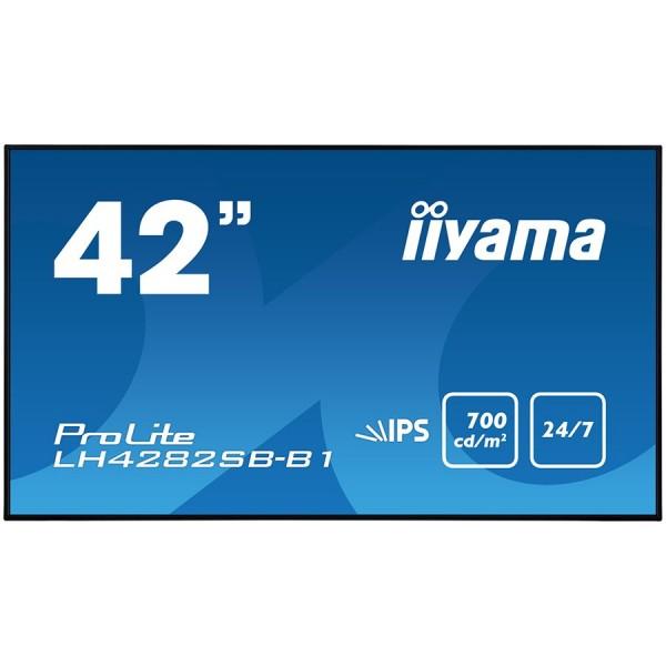 IIYAMA Monitor 42'' Super Slim, 1920x1080, IPS panel, 6,5mm bezel width, DP, DVI, 2xHDMI, Video, USB Media, Speakers, 700cdm˛, 1300:1 Static