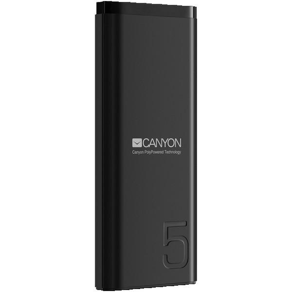 CANYON Power bank 5000mAh Li-poly battery, Input 5V2A, Output 5V2.1A, with Smart IC, Black, USB cable length 0.25m, 120*52*12mm, 0.120Kg ( CNE-CPB05B )