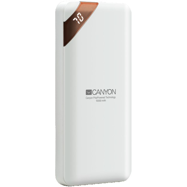 CANYON PB-102 Power bank 10000mAh Li-poly battery, Input 5V2A, Output 5V2.1A(Max), with Smart IC and power display, White, USB cable length 0.25m, 137*67*13mm, 0.230Kg ( CNE-CPBP10W )