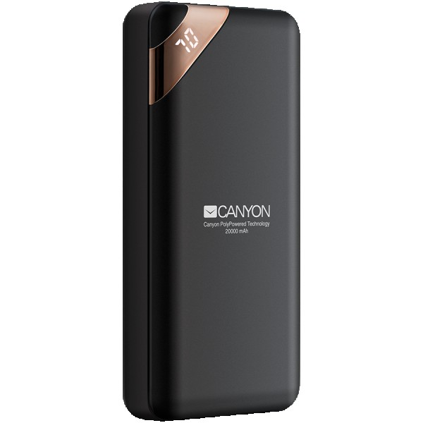 CANYON Power bank 20000mAh  Li-poly battery, Input 5V2A, Output 5V2.1A(Max), with Smart IC and power display, Black, USB cable length 0.25m, 137*67*25mm, 0.360Kg ( CNE-CPBP20B )