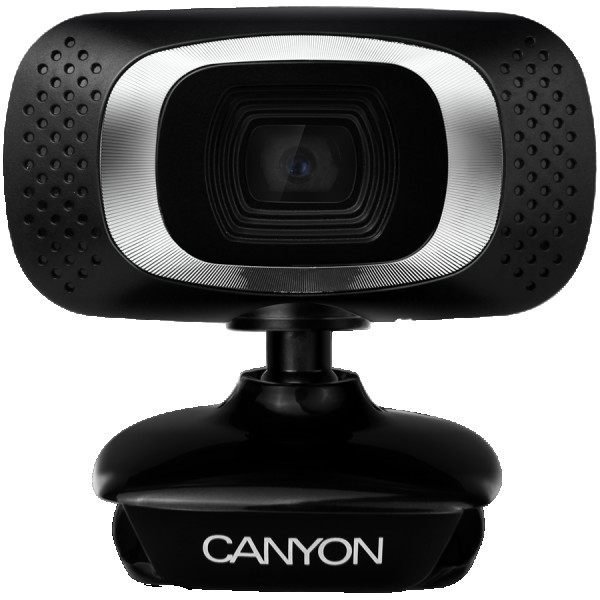 CANYON 720P HD webcam with USB2.0. connector, 360° rotary view scope, 1.0Mega pixels, Resolution 1280*720, viewing angle 60°, cable length 2.0m, Black, 62.2x46.5x57.8mm, 0.074kg ( CNE-CWC3N )