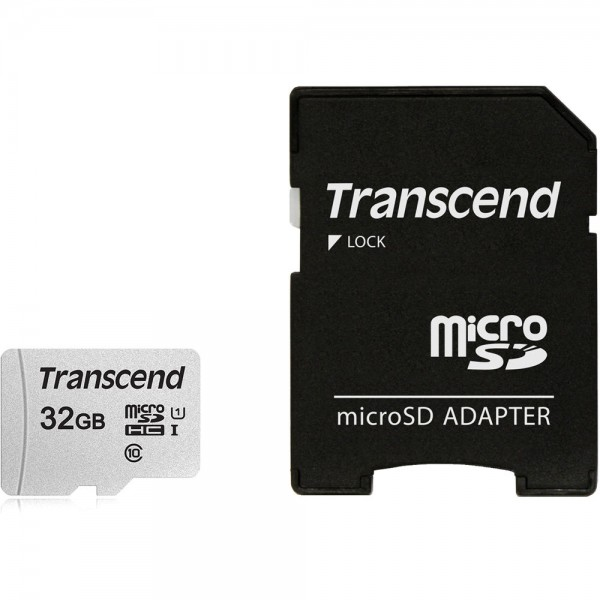 MICRO SD 32GB TRANSCEND + SD adapter TS32GUSD300S-A