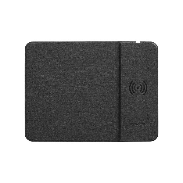 CANYON Mouse Mat with wireless charger, Input 5V2A,9V2A Output 5W7.5W10W, 324*244*6mm, Micro USB cable length 1m, Black, 220g ( CNS-CMPW5 )