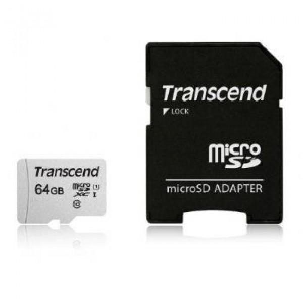 MICRO SD 64GB TRANSCEND + SD adapter TS64GUSD300S-A